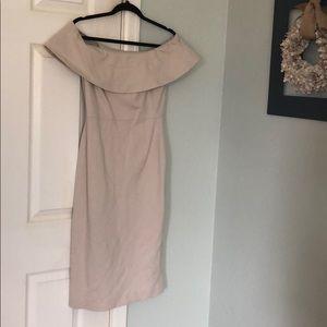 Babaton off shoulder taupe dress 6